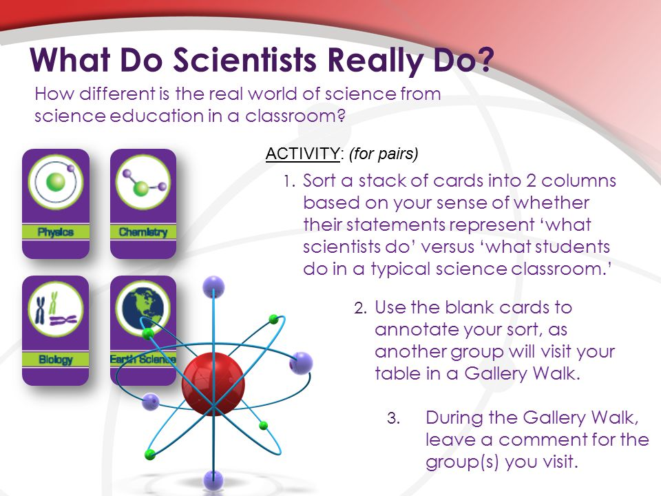 1. Sort a stack of cards into 2 columns based on your sense of whether their statements represent 'what scientists do' versus 'what students do in a t