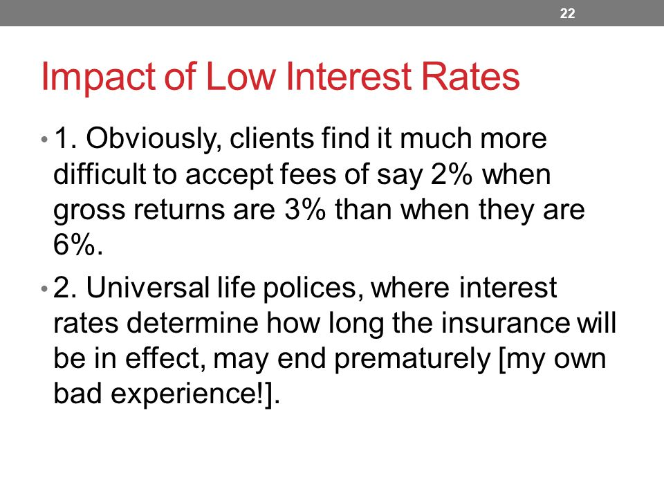 Impact of Low Interest Rates 1.