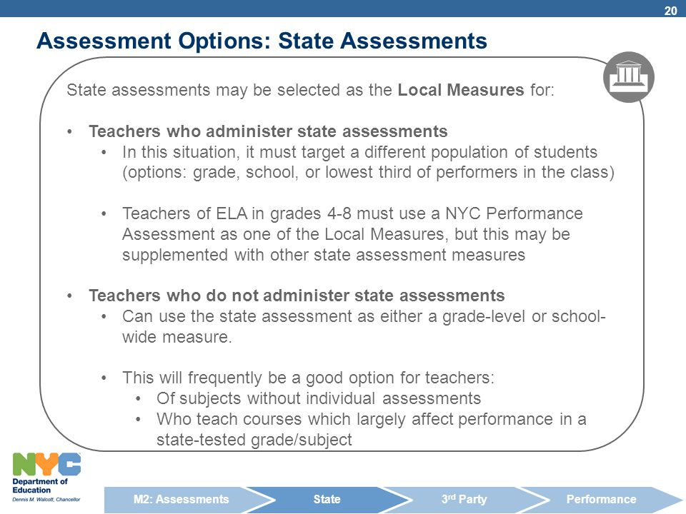 Assessment Options: State Assessments 20 State assessments may be selected as the Local Measures for: Teachers who administer state assessments In thi