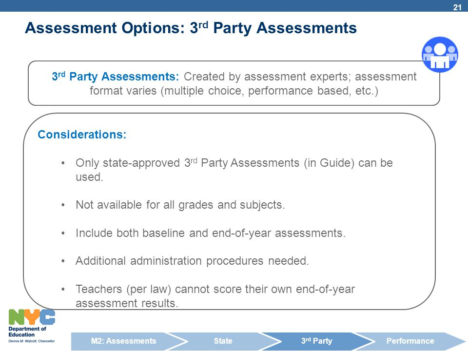 Considerations: Only state-approved 3 rd Party Assessments (in Guide) can be used. Not available for all grades and subjects. Include both baseline an