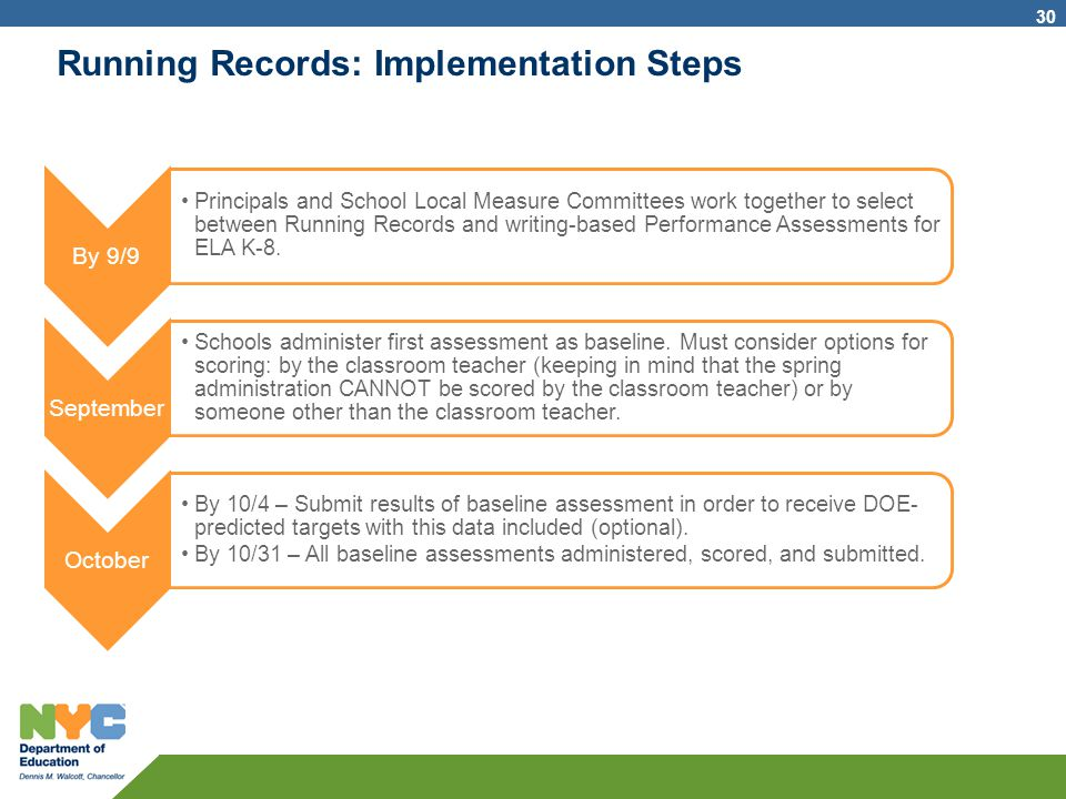 Running Records: Implementation Steps By 9/9 Principals and School Local Measure Committees work together to select between Running Records and writin