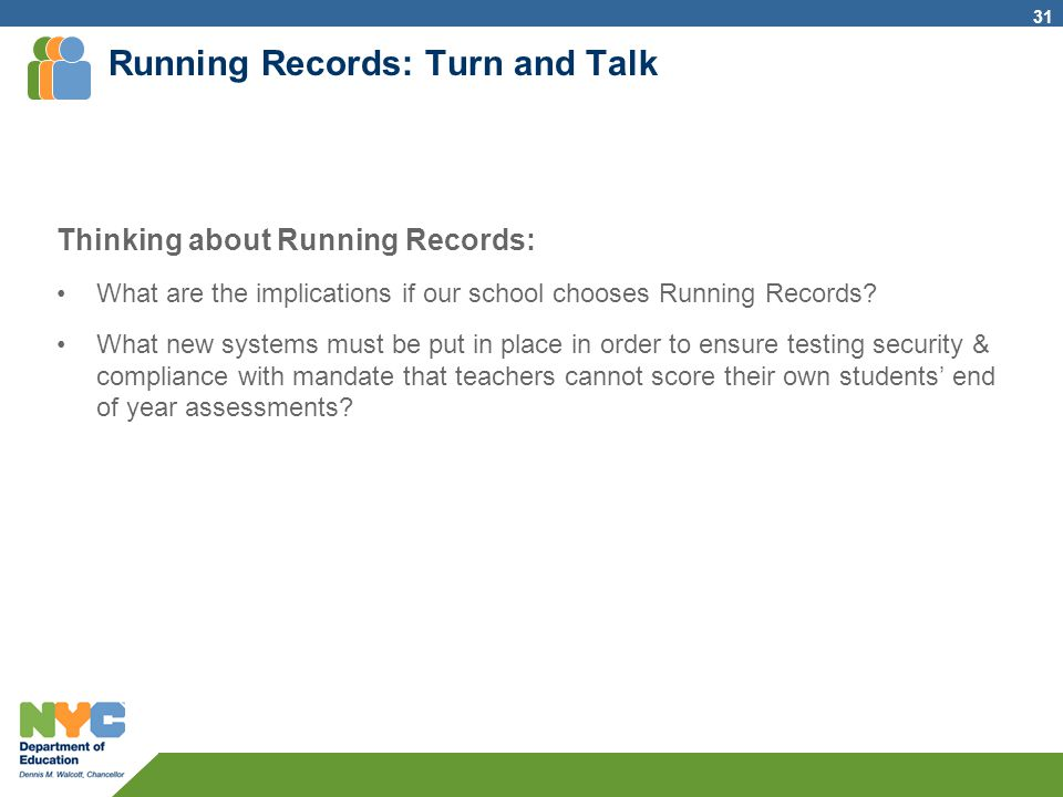 Running Records: Turn and Talk Thinking about Running Records: What are the implications if our school chooses Running Records? What new systems must