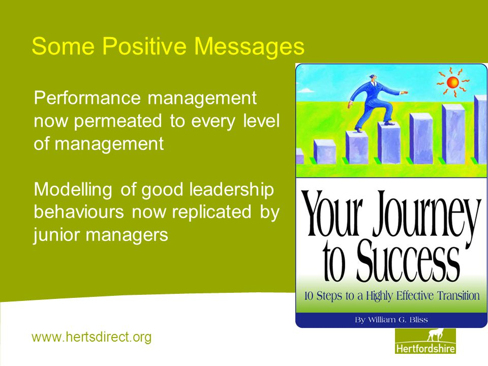 www.hertsdirect.org Some Positive Messages Performance management now permeated to every level of management Modelling of good leadership behaviours n
