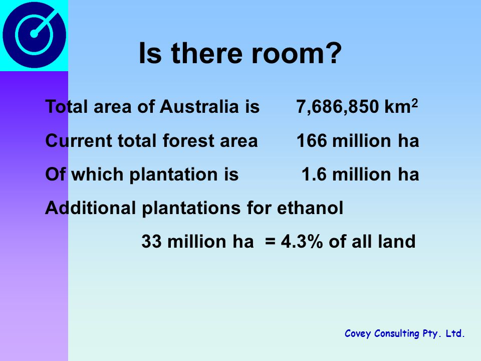 Covey Consulting Pty. Ltd. Is there room? Total area of Australia is 7,686,850 km 2 Current total forest area 166 million ha Of which plantation is 1.