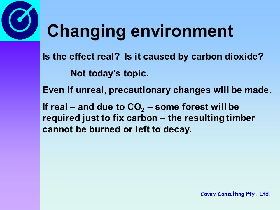 Covey Consulting Pty.Ltd. Changing environment Is the effect real.