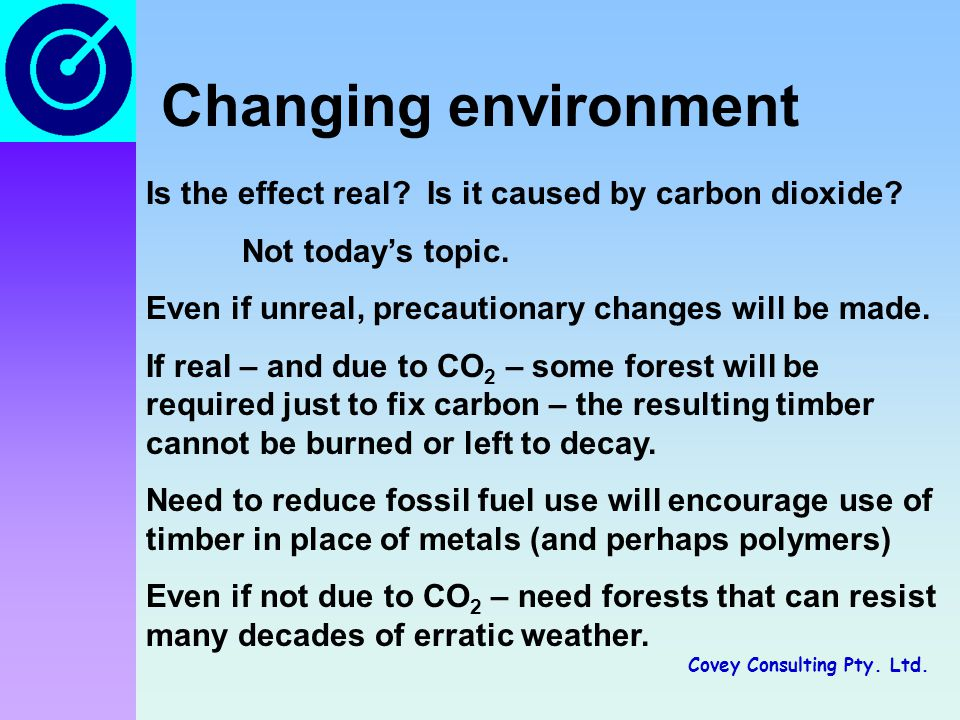 Covey Consulting Pty. Ltd. Changing environment Is the effect real.