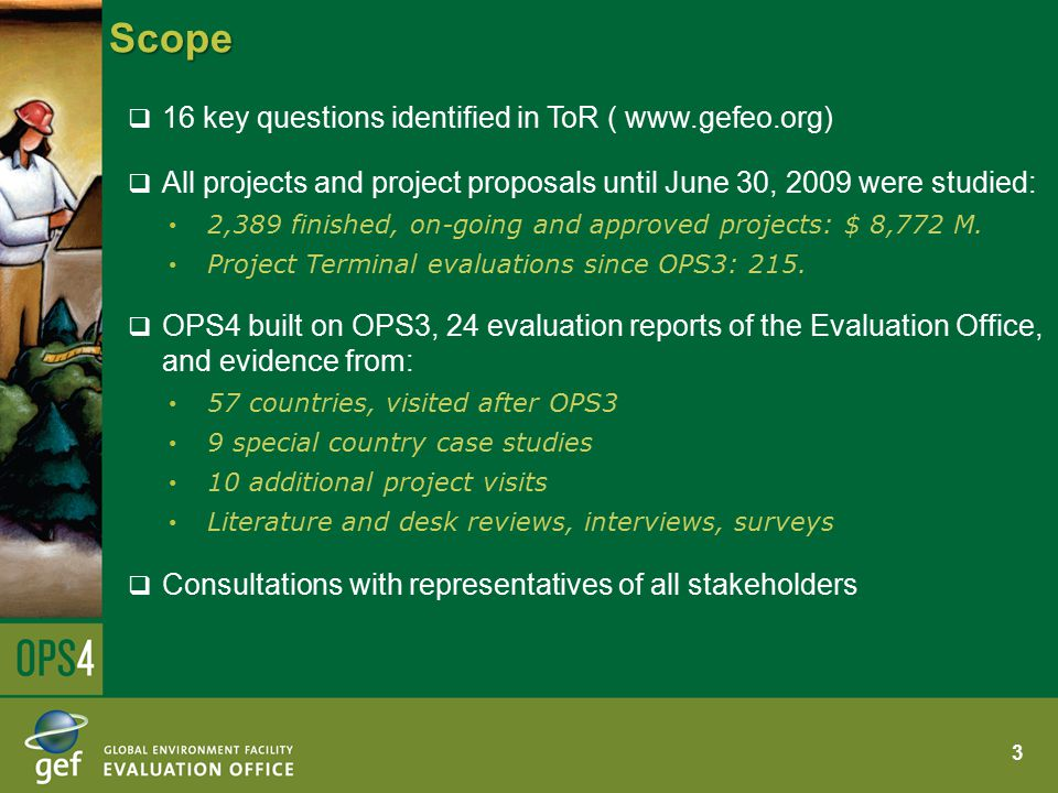 Scope  16 key questions identified in ToR ( www.gefeo.org)  All projects and project proposals until June 30, 2009 were studied: 2,389 finished, on-going and approved projects: $ 8,772 M.