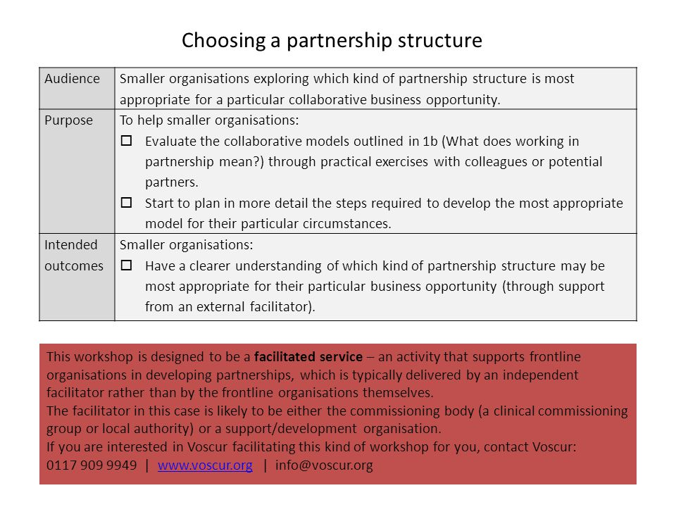 Choosing a partnership structure Audience Smaller organisations exploring which kind of partnership structure is most appropriate for a particular collaborative business opportunity.