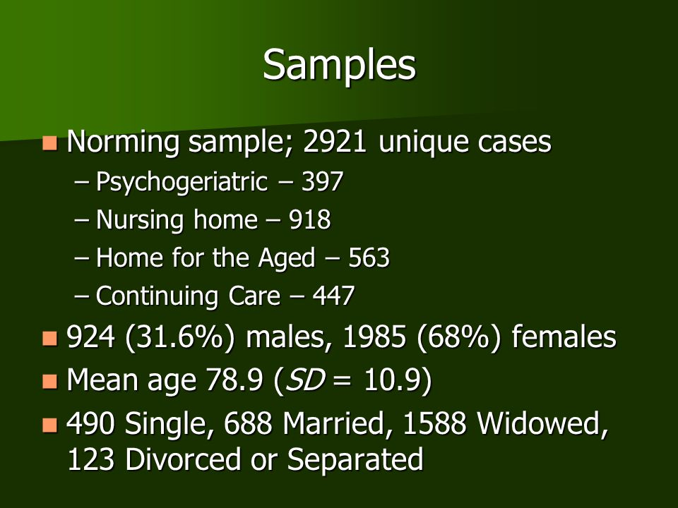 Samples Norming sample; 2921 unique cases Norming sample; 2921 unique cases –Psychogeriatric – 397 –Nursing home – 918 –Home for the Aged – 563 –Conti