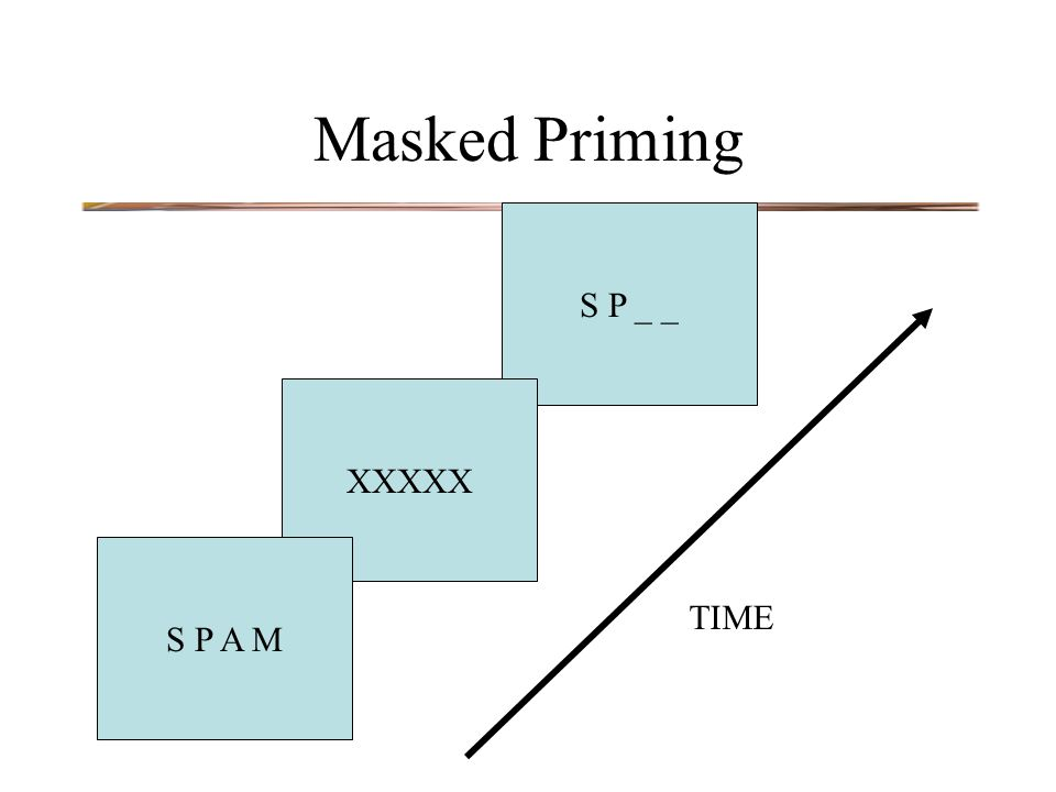 S P _ _ XXXXX Masked Priming S P A M TIME