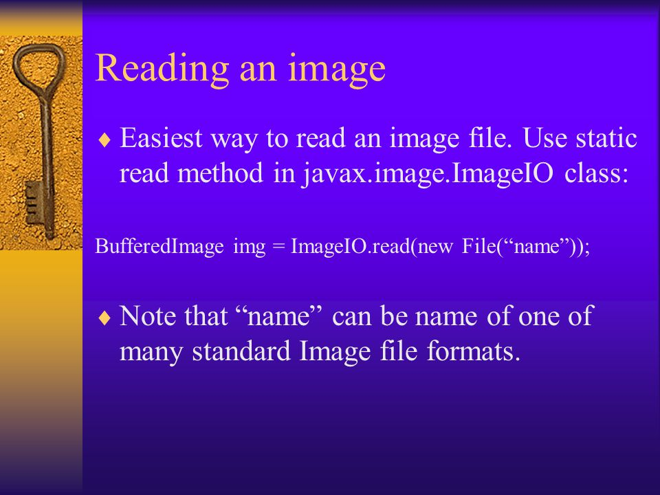Reading an image  Easiest way to read an image file.
