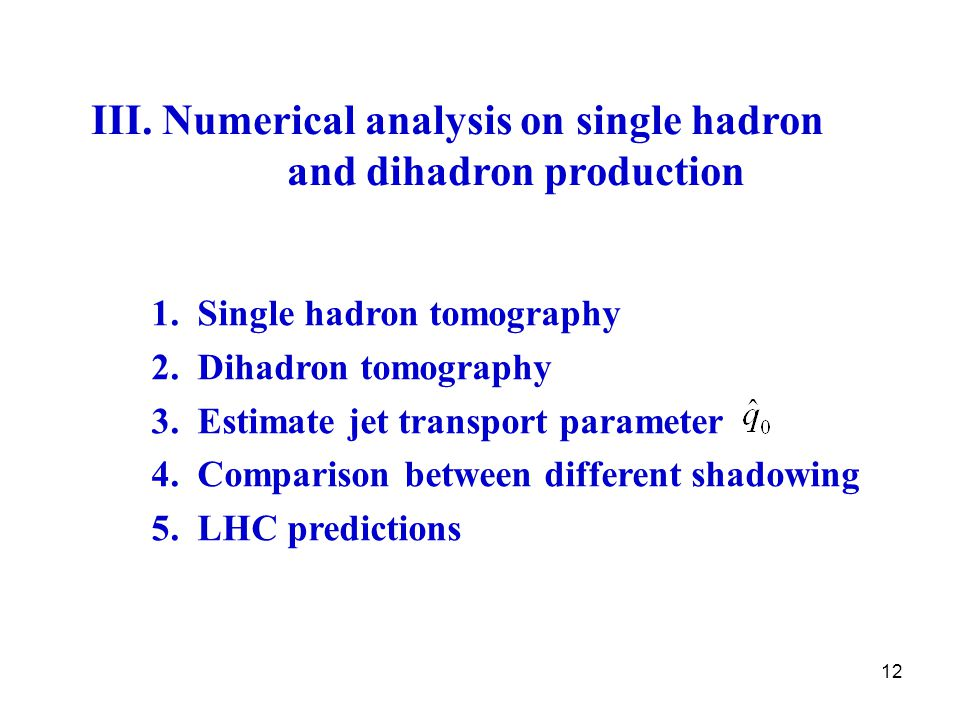 12 III. Numerical analysis on single hadron and dihadron production 1.
