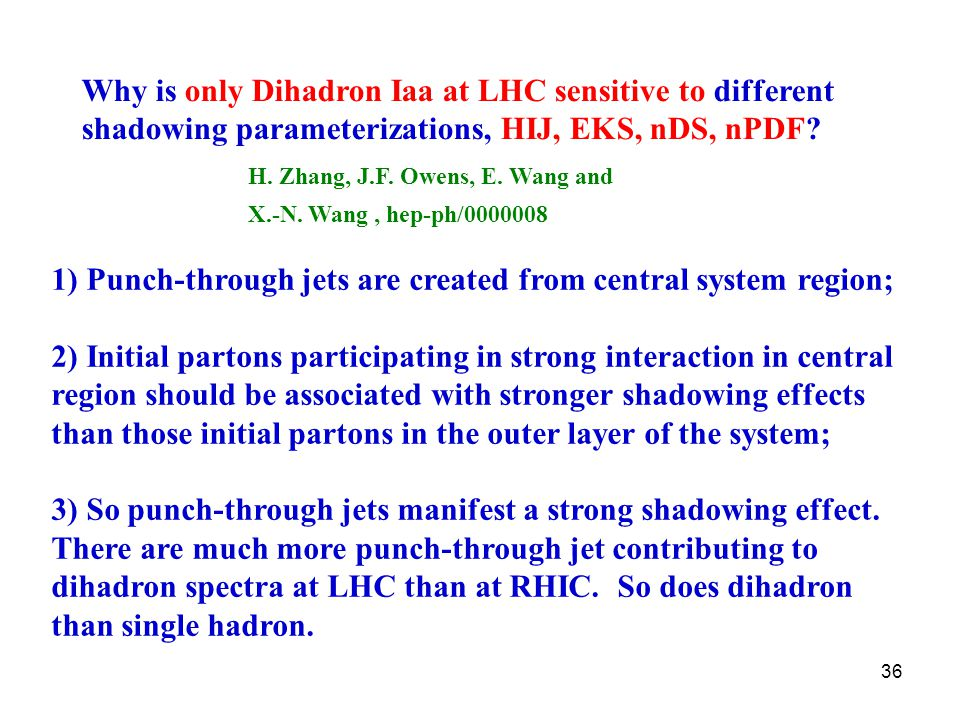 36 Why is only Dihadron Iaa at LHC sensitive to different shadowing parameterizations, HIJ, EKS, nDS, nPDF.