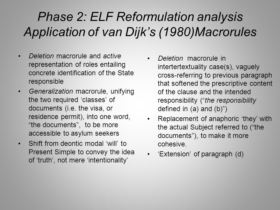 Phase 2: ELF Reformulation analysis Application of van Dijk's (1980)Macrorules Deletion macrorule and active representation of roles entailing concrete identification of the State responsible Generalization macrorule, unifying the two required 'classes' of documents (i.e.