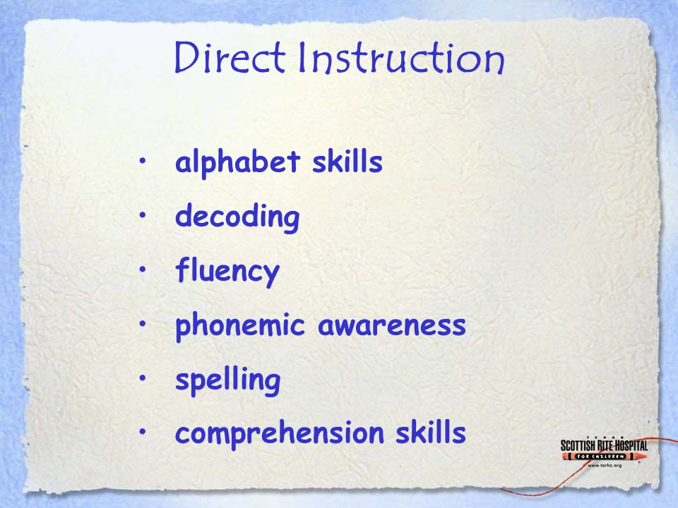 Direct Instruction alphabet skills decoding fluency phonemic awareness spelling comprehension skills