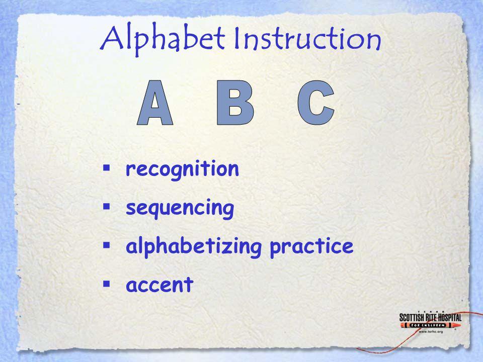 Alphabet Instruction  recognition  sequencing  alphabetizing practice  accent