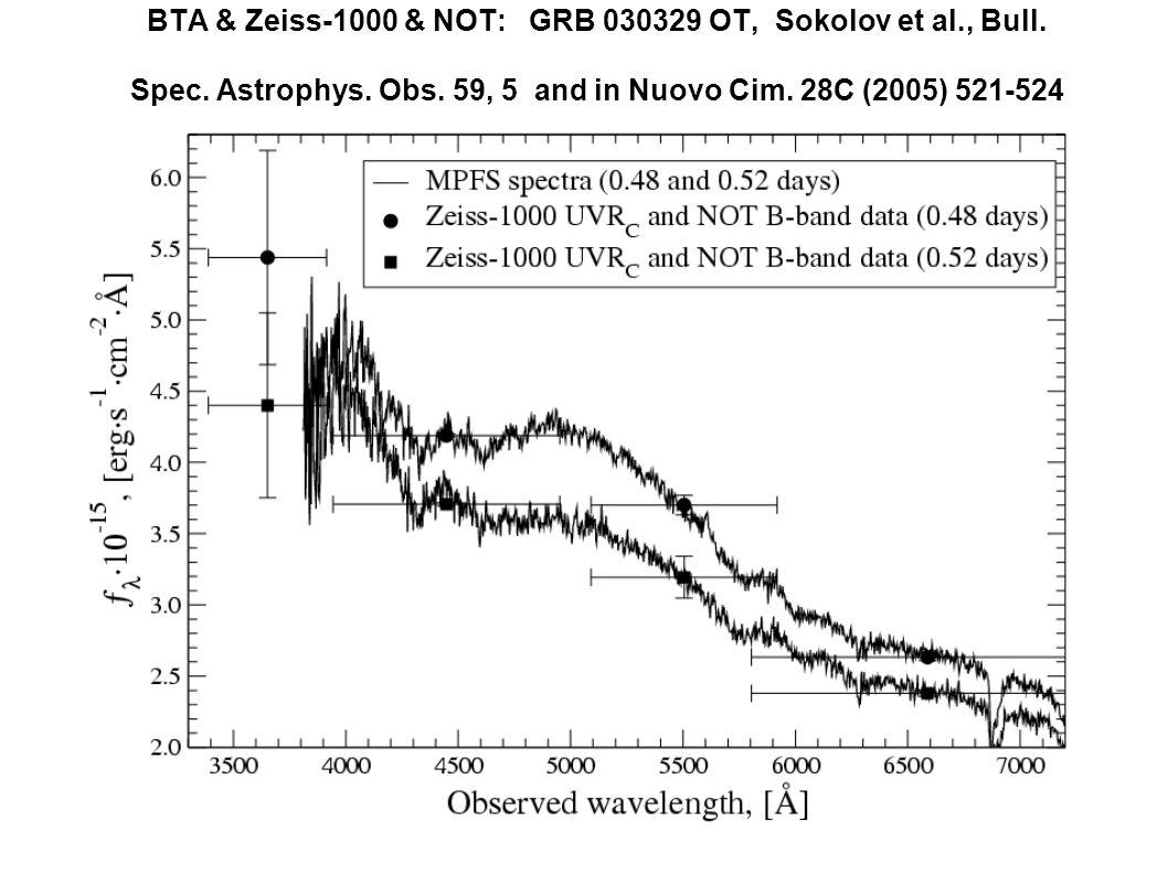 BTA & Zeiss-1000 & NOT: GRB 030329 OT, Sokolov et al., Bull. Spec. Astrophys. Obs. 59, 5 and in Nuovo Cim. 28C (2005) 521-524