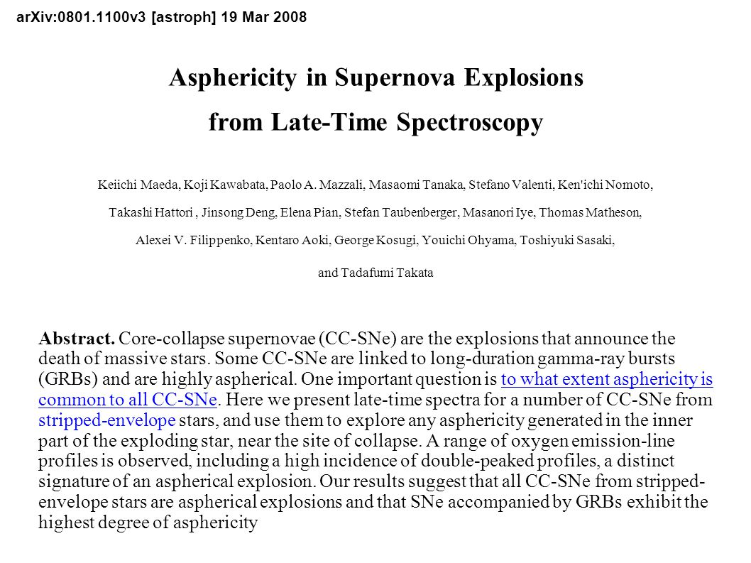 arXiv:0801.1100v3 [astroph] 19 Mar 2008 Asphericity in Supernova Explosions from Late-Time Spectroscopy Keiichi Maeda, Koji Kawabata, Paolo A. Mazzal