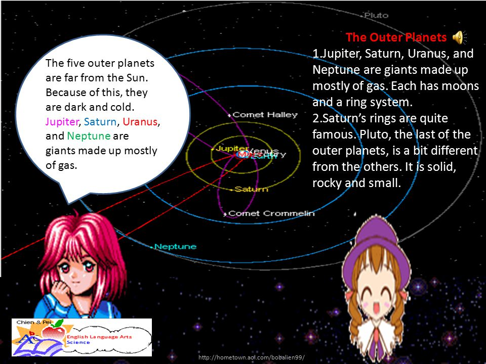 The five outer planets are far from the Sun. Because of this, they are dark and cold. Jupiter, Saturn, Uranus, and Neptune are giants made up mostly o