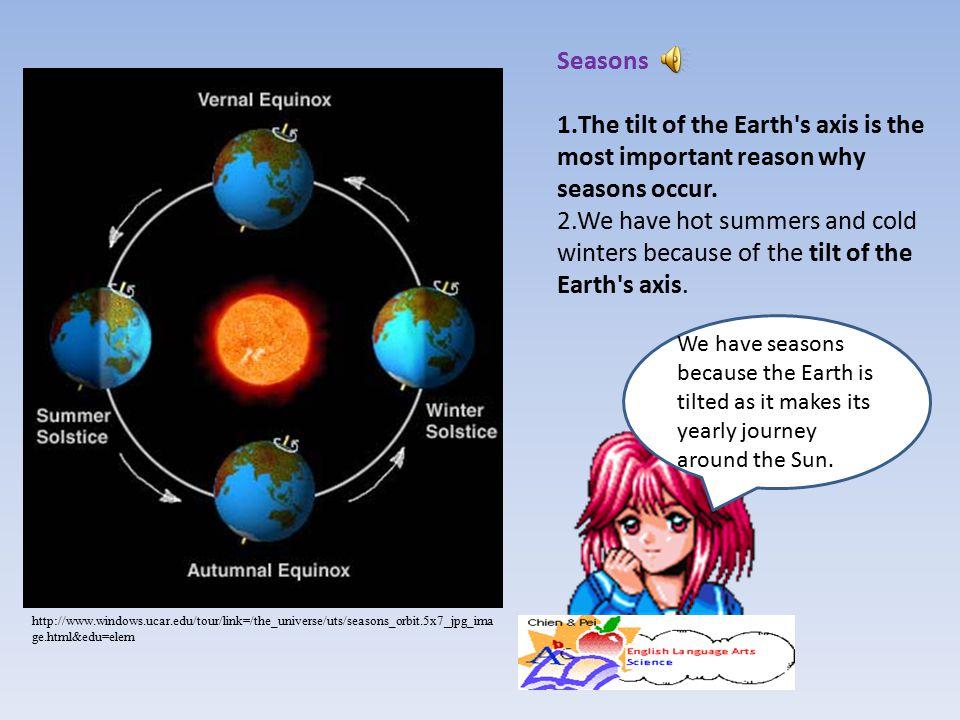 http://www.windows.ucar.edu/tour/link=/the_universe/uts/seasons_orbit.5x7_jpg_ima ge.html&edu=elem We have seasons because the Earth is tilted as it m