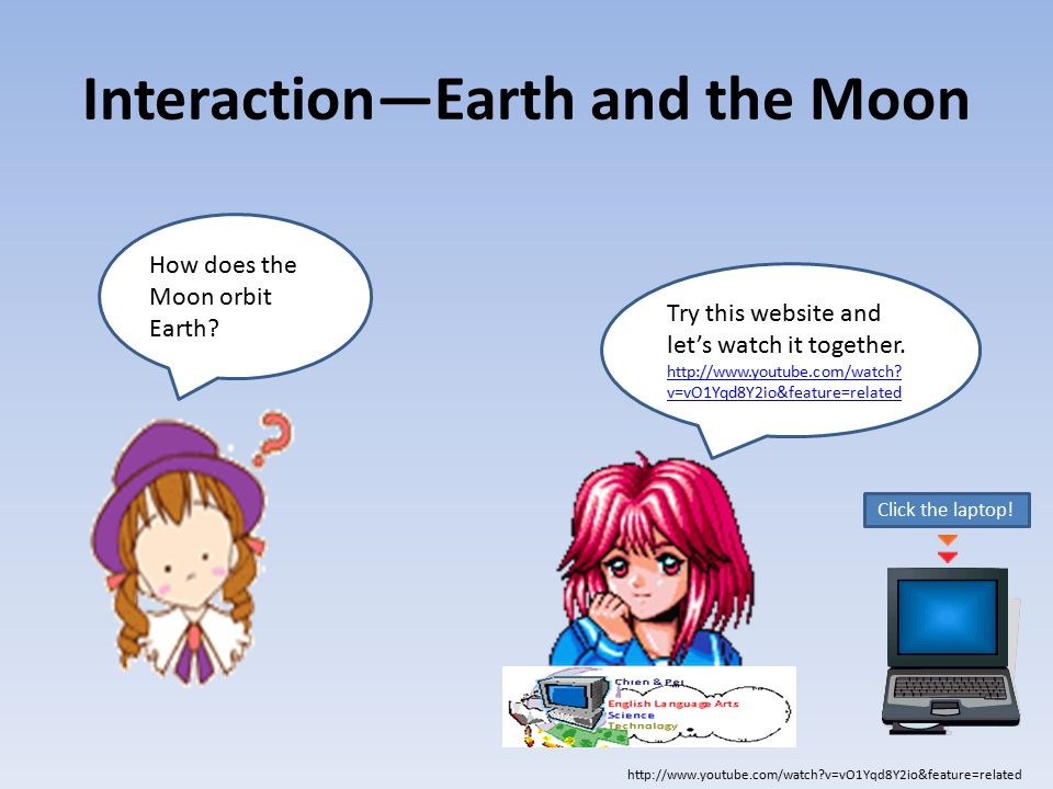 How does the Moon orbit Earth? Try this website and let's watch it together. http://www.youtube.com/watch? v=vO1Yqd8Y2io&feature=related http://www.yo