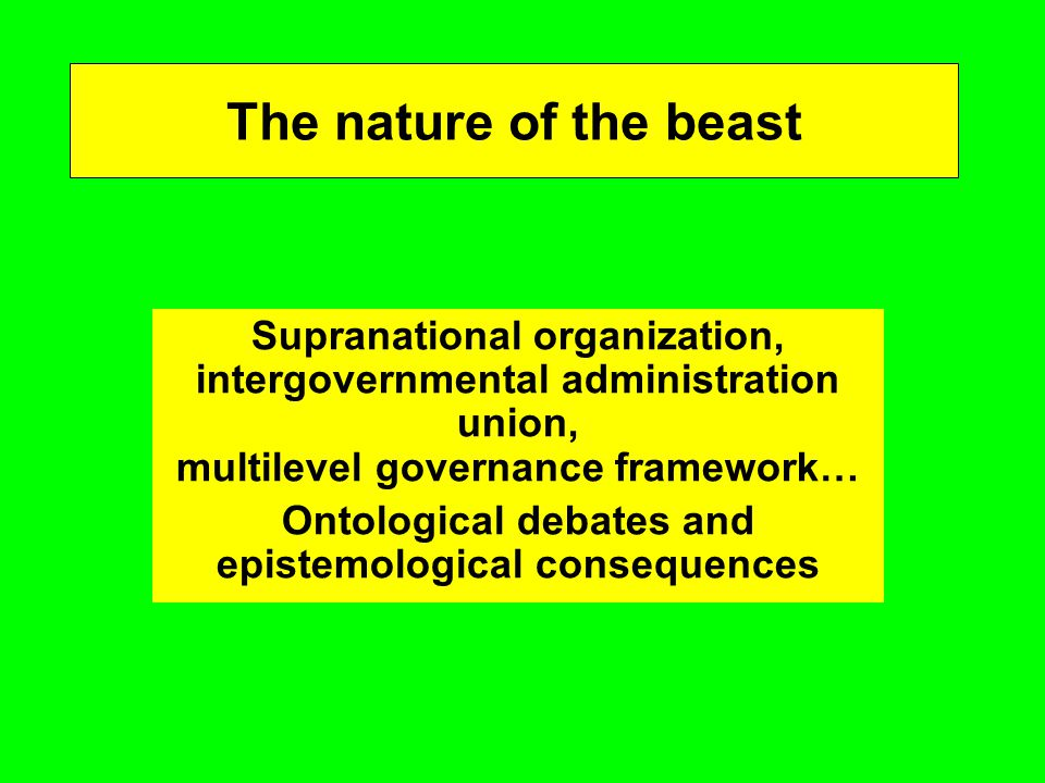 The nature of the beast Supranational organization, intergovernmental administration union, multilevel governance framework… Ontological debates and epistemological consequences