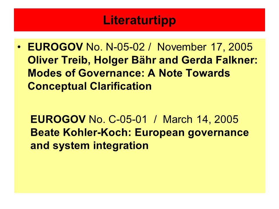 Literaturtipp EUROGOV No. N-05-02 / November 17, 2005 Oliver Treib, Holger Bähr and Gerda Falkner: Modes of Governance: A Note Towards Conceptual Clar