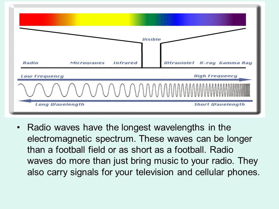 Radio waves have the longest wavelengths in the electromagnetic spectrum. These waves can be longer than a football field or as short as a football. R