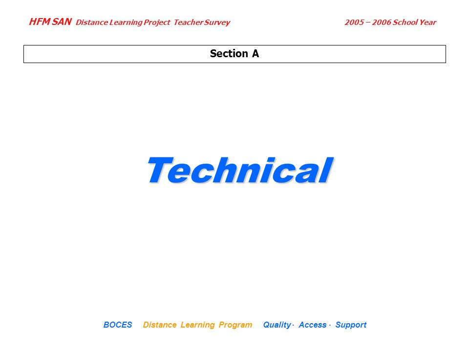 HFM SAN Distance Learning Project Teacher Survey 2005 – 2006 School Year... BOCES Distance Learning Program Quality Access Support Section A Technical