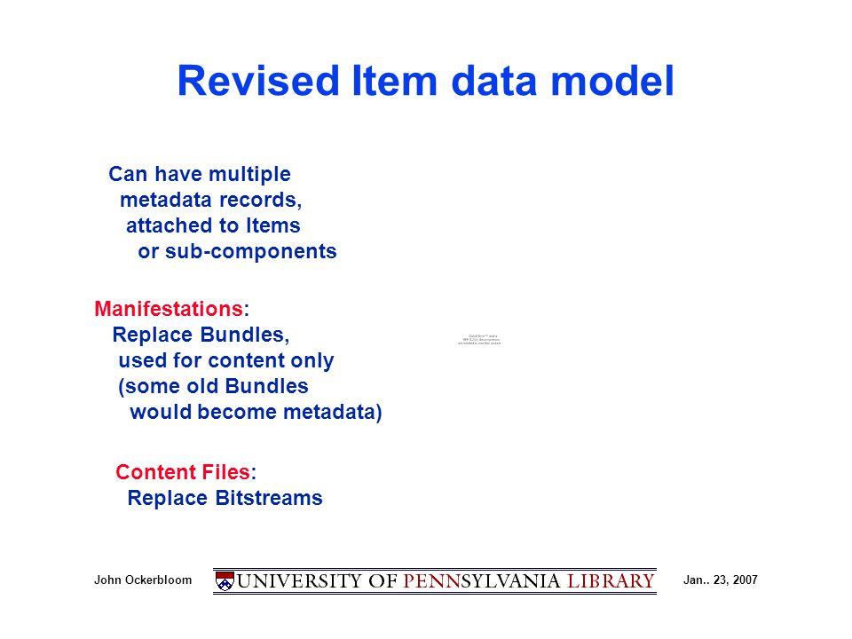 John OckerbloomJan.. 23, 2007 Revised Item data model Manifestations: Replace Bundles, used for content only (some old Bundles would become metadata)