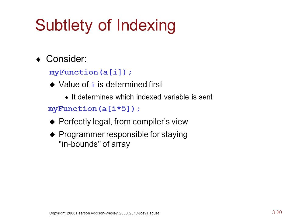 Copyright 2006 Pearson Addison-Wesley, 2008, 2013 Joey Paquet 3-20 Subtlety of Indexing  Consider: myFunction(a[i]);  Value of i is determined first  It determines which indexed variable is sent myFunction(a[i*5]);  Perfectly legal, from compiler's view  Programmer responsible for staying in-bounds of array