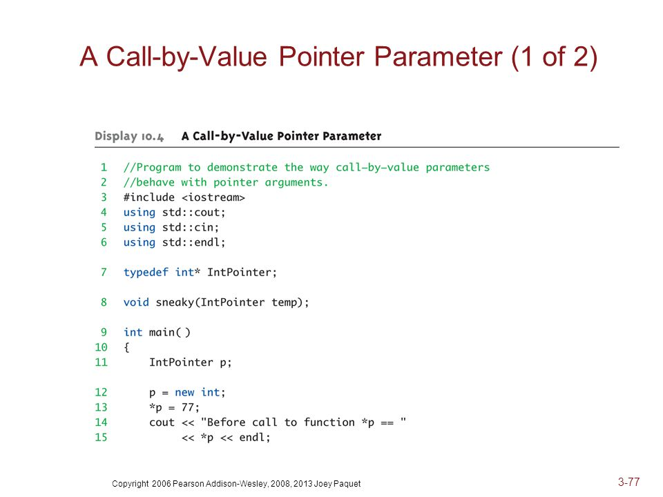 Copyright 2006 Pearson Addison-Wesley, 2008, 2013 Joey Paquet 3-77 A Call-by-Value Pointer Parameter (1 of 2)