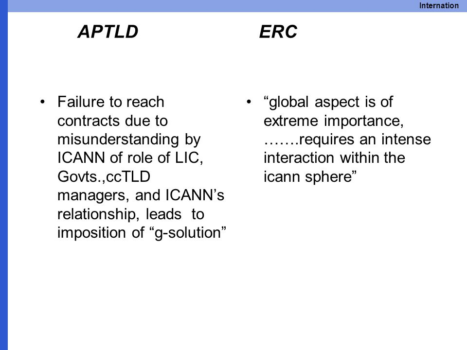 Internation APTLD ERC Failure to reach contracts due to misunderstanding by ICANN of role of LIC, Govts.,ccTLD managers, and ICANN's relationship, leads to imposition of g-solution global aspect is of extreme importance, …….requires an intense interaction within the icann sphere