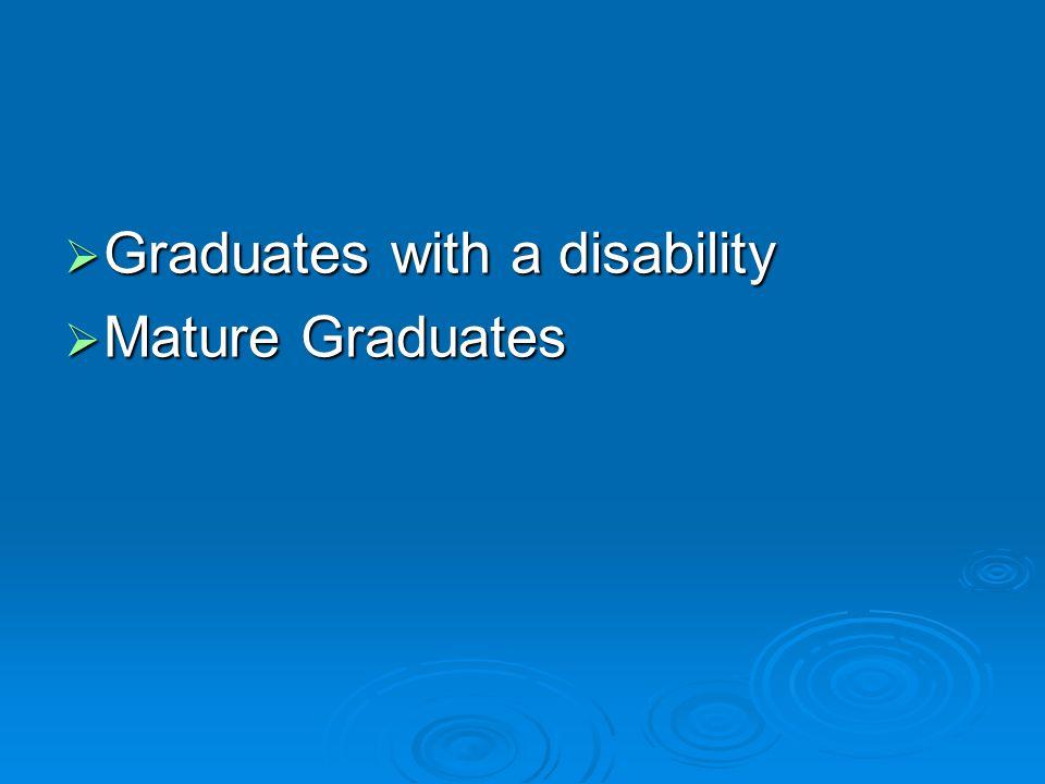  Graduates with a disability  Mature Graduates