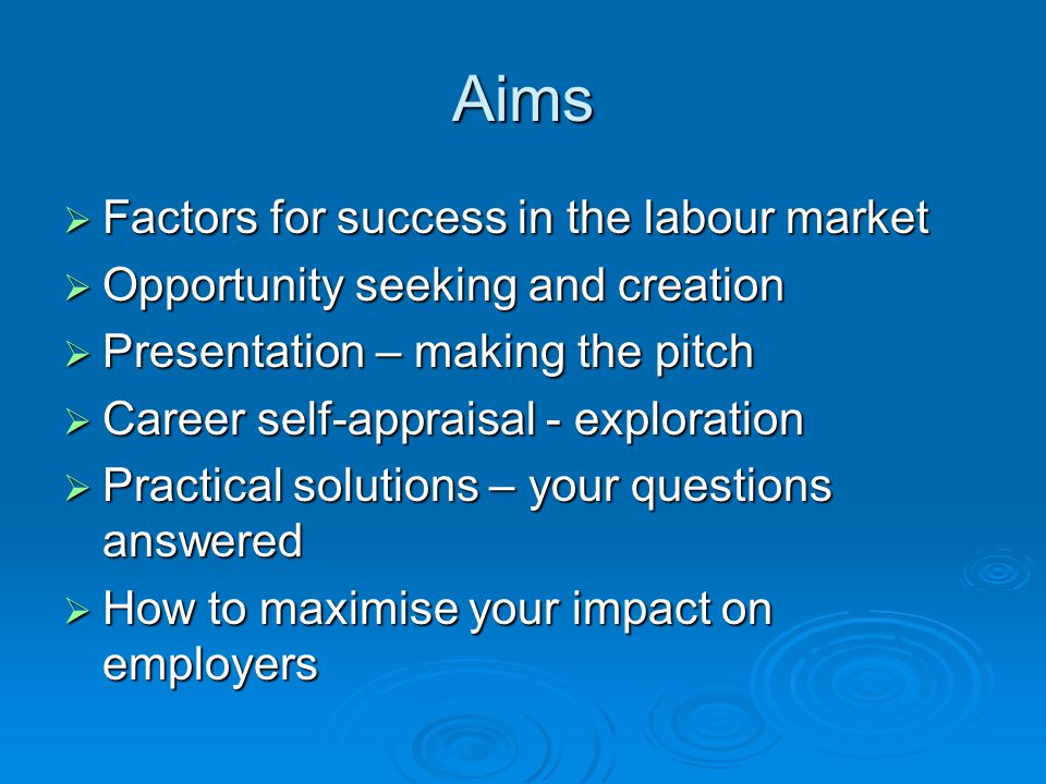 Aims  Factors for success in the labour market  Opportunity seeking and creation  Presentation – making the pitch  Career self-appraisal - exploration  Practical solutions – your questions answered  How to maximise your impact on employers