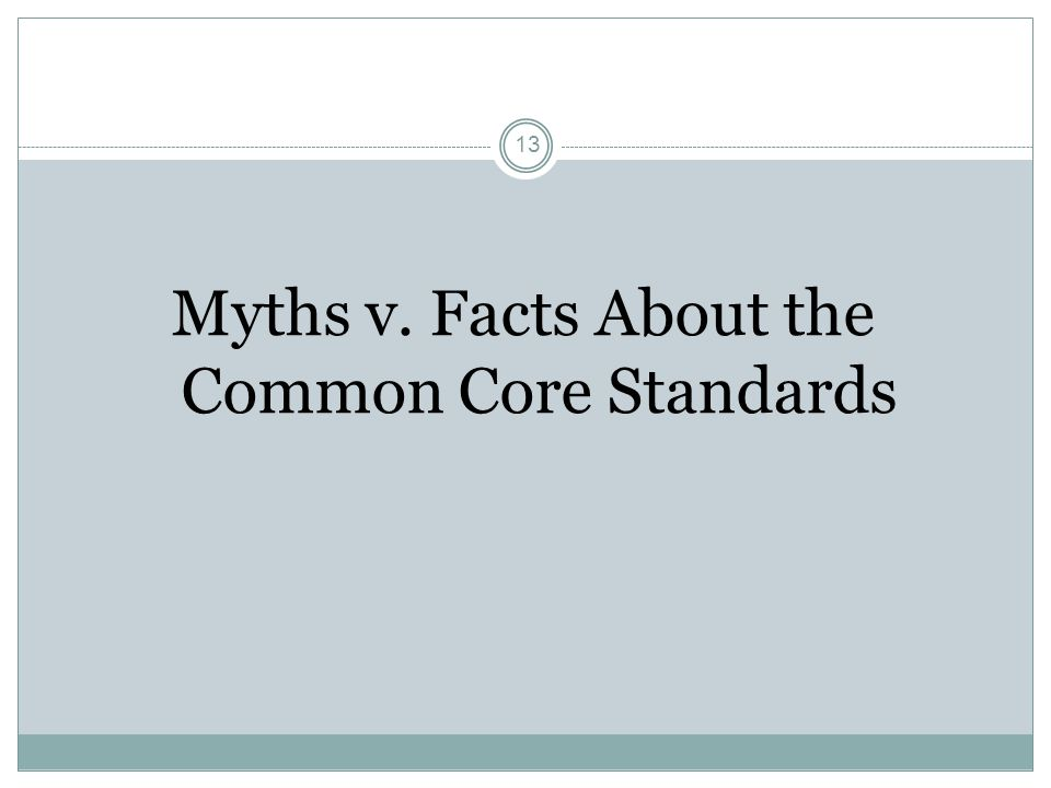 13 Myths v. Facts About the Common Core Standards