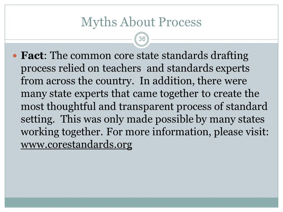 Myths About Process Fact: The common core state standards drafting process relied on teachers and standards experts from across the country.
