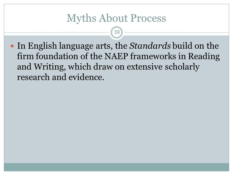 Myths About Process In English language arts, the Standards build on the firm foundation of the NAEP frameworks in Reading and Writing, which draw on extensive scholarly research and evidence.