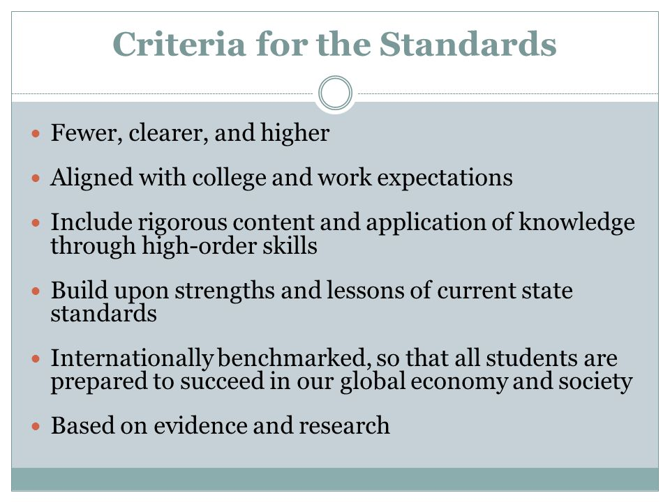 Criteria for the Standards Fewer, clearer, and higher Aligned with college and work expectations Include rigorous content and application of knowledge through high-order skills Build upon strengths and lessons of current state standards Internationally benchmarked, so that all students are prepared to succeed in our global economy and society Based on evidence and research