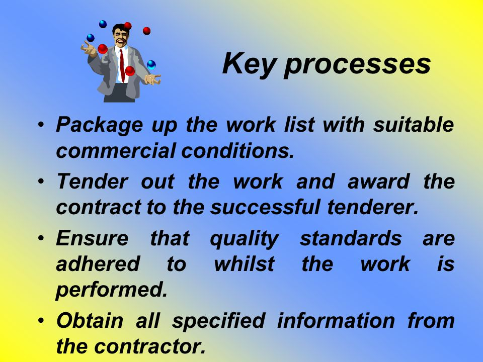 Key processes Package up the work list with suitable commercial conditions.