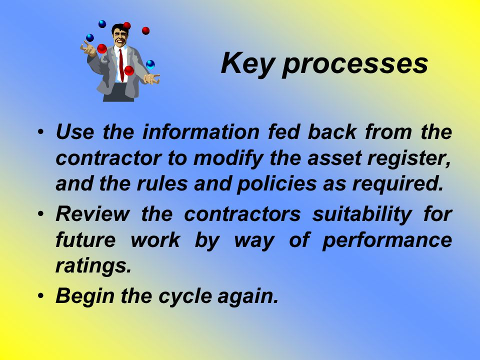 Key processes Use the information fed back from the contractor to modify the asset register, and the rules and policies as required. Review the contra