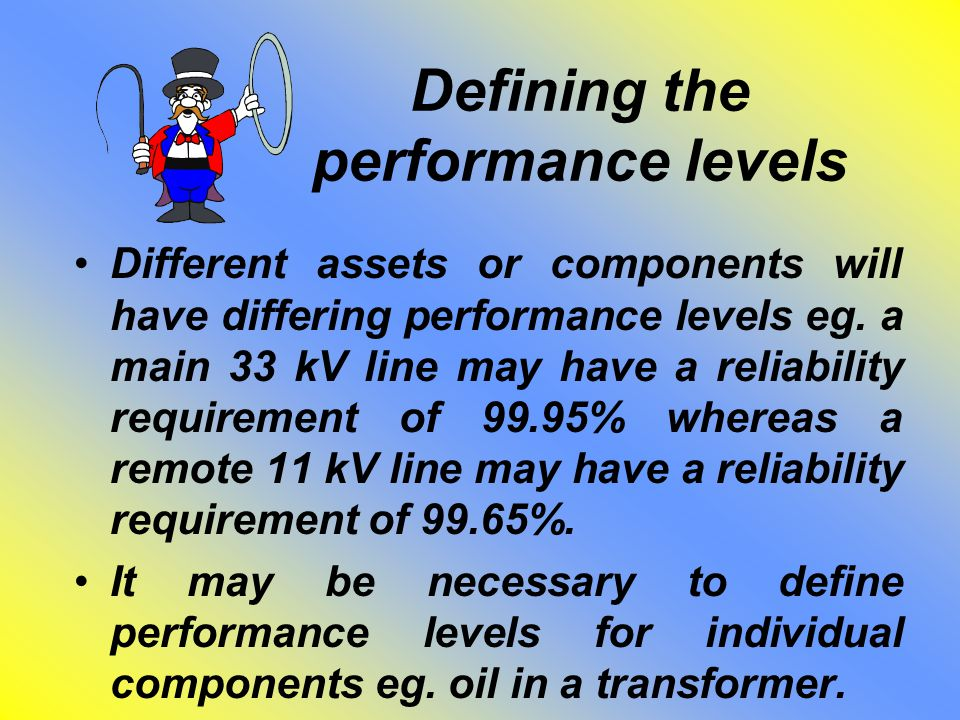 Defining the performance levels Different assets or components will have differing performance levels eg. a main 33 kV line may have a reliability req
