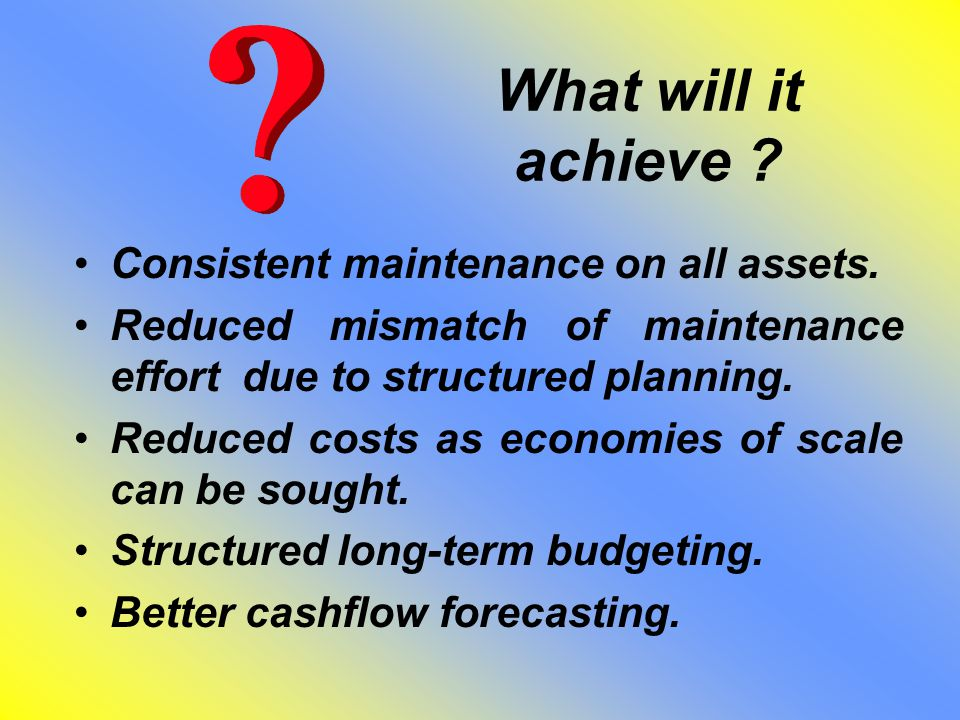 What will it achieve .Better alignment to capital works planning.