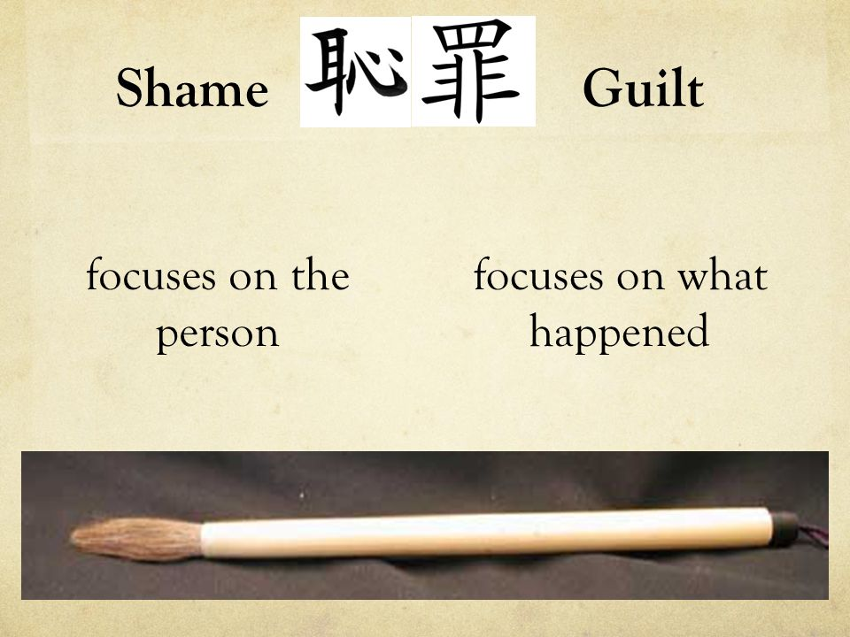 Shame focuses on the person focuses on what happened Guilt