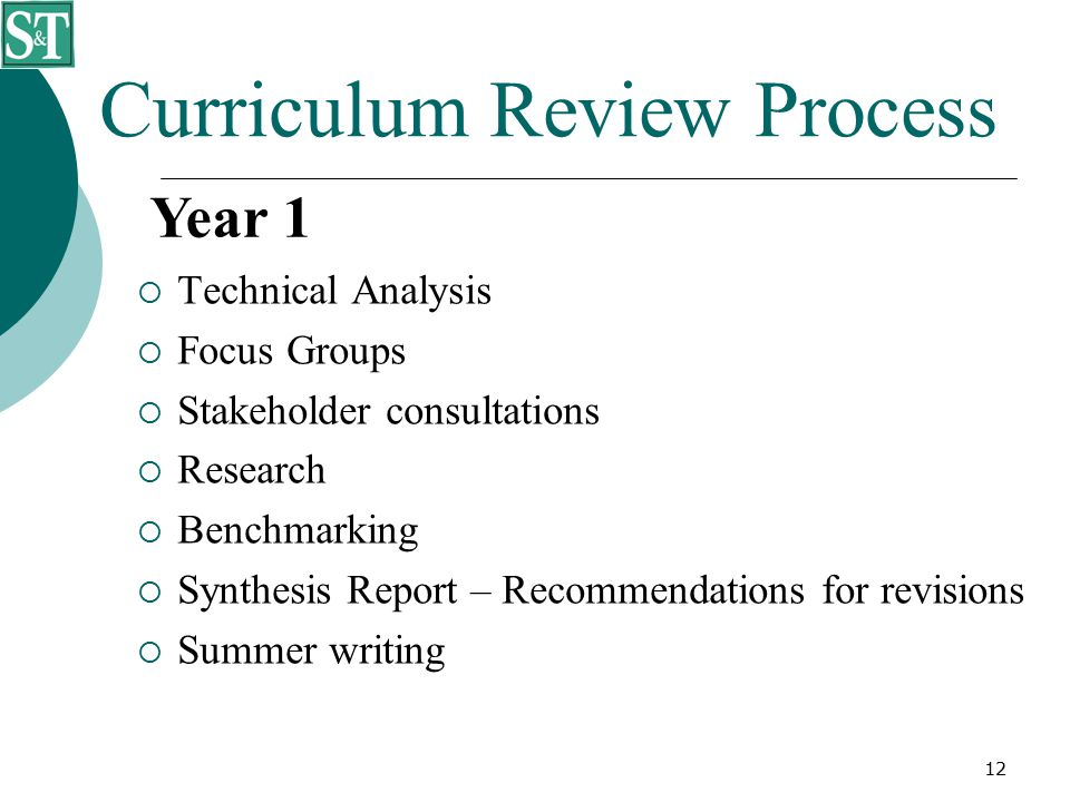 12 Curriculum Review Process  Technical Analysis  Focus Groups  Stakeholder consultations  Research  Benchmarking  Synthesis Report – Recommendations for revisions  Summer writing Year 1
