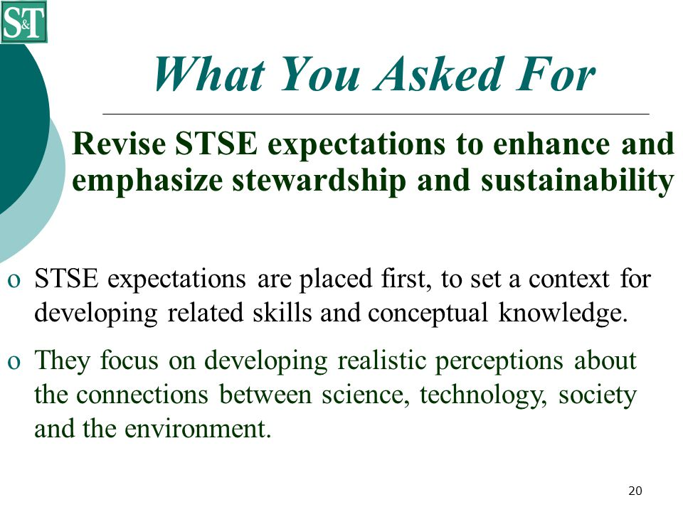 20 What You Asked For Revise STSE expectations to enhance and emphasize stewardship and sustainability  STSE expectations are placed first, to set a context for developing related skills and conceptual knowledge.