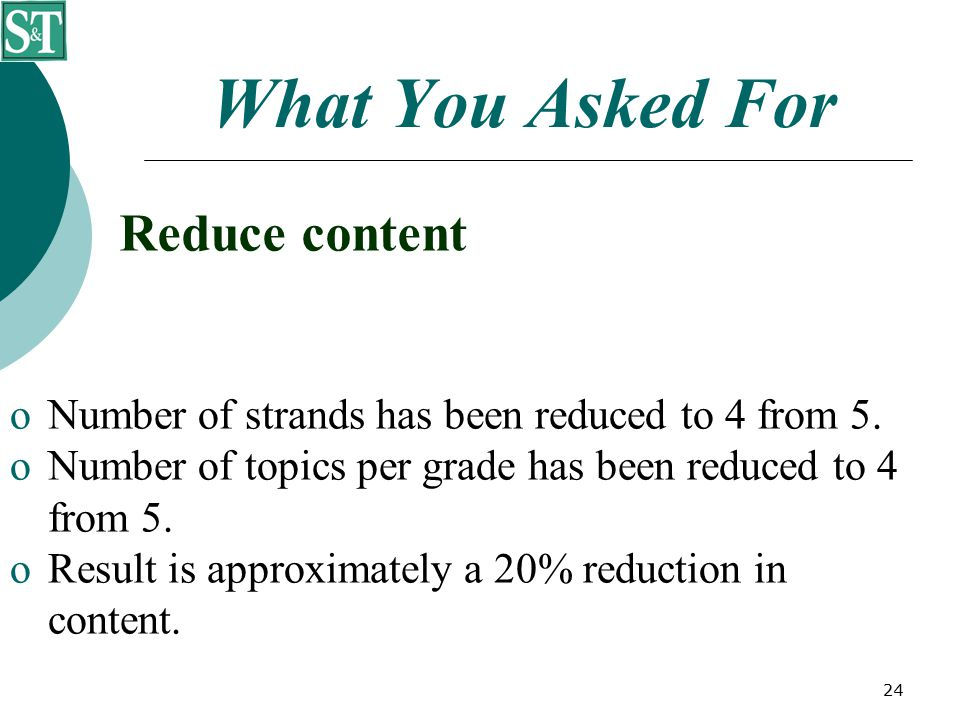 24 What You Asked For Reduce content  Number of strands has been reduced to 4 from 5.  Number of topics per grade has been reduced to 4 from 5.  Re