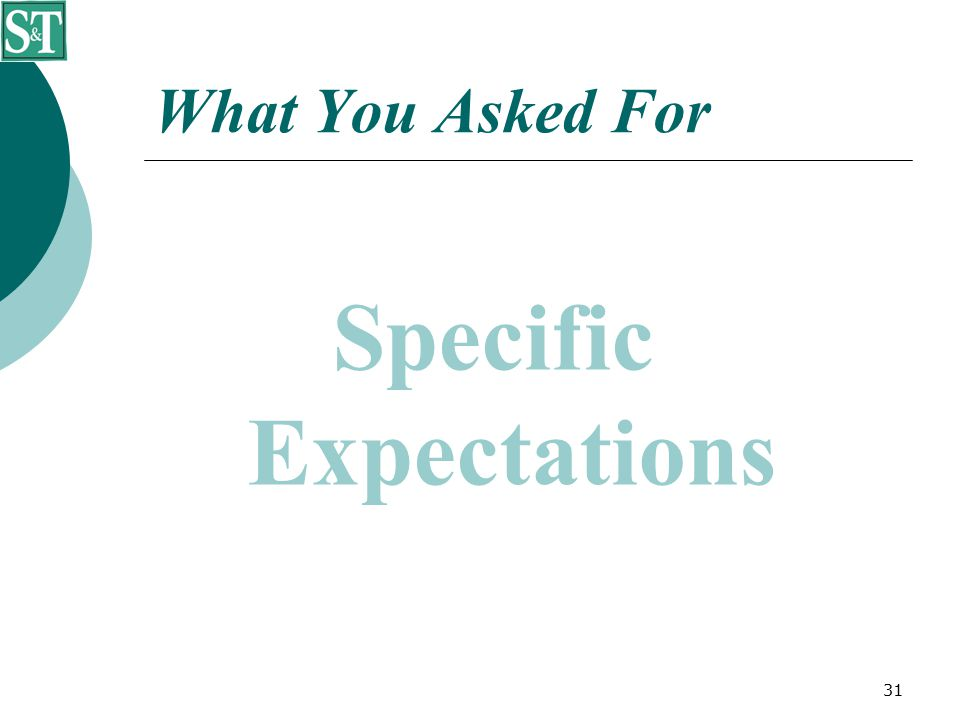 31 What You Asked For Specific Expectations