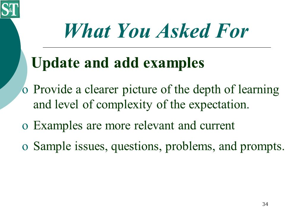34 What You Asked For Update and add examples  Provide a clearer picture of the depth of learning and level of complexity of the expectation.