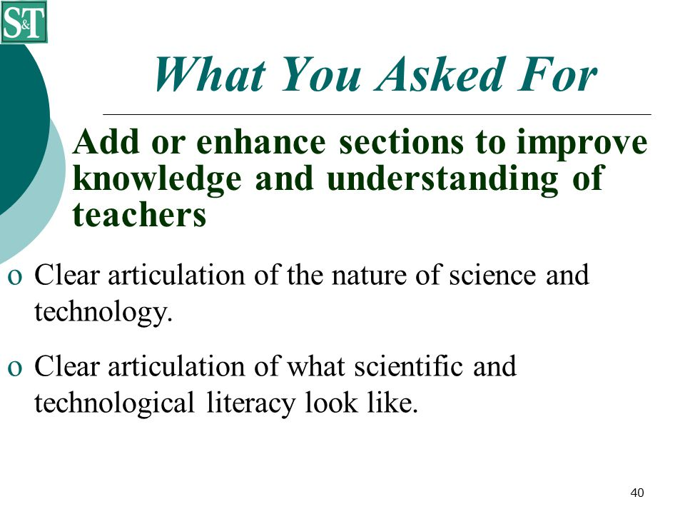 40 What You Asked For  Clear articulation of the nature of science and technology.  Clear articulation of what scientific and technological literacy